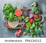 vegetables  fruit  seeds ... | Shutterstock . vector #596124212