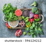 vegetables  fruit  seeds ... | Shutterstock . vector #596124212