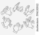 applause clapping hands set.... | Shutterstock .eps vector #596132012