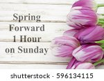 spring forward message  a... | Shutterstock . vector #596134115