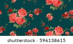 seamless floral pattern in... | Shutterstock .eps vector #596138615