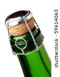 Champagne bottle neck. Closeup, isolated on white - stock photo