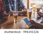 social networking with beer... | Shutterstock . vector #596141126