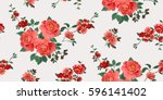 seamless floral pattern in... | Shutterstock .eps vector #596141402