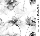 seamless wallpaper with flowers ... | Shutterstock . vector #596148896