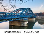pilsudzki bridge at sunset in... | Shutterstock . vector #596150735