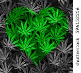 heart of bright green cannabis... | Shutterstock . vector #596152256
