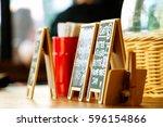 sign on chalk board in... | Shutterstock . vector #596154866