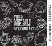 menu food restaurant drawing...   Shutterstock .eps vector #596159012