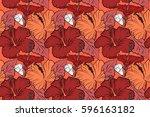 hand drawn sketch. hibiscus... | Shutterstock . vector #596163182