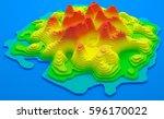 3d illustration. topographical... | Shutterstock . vector #596170022