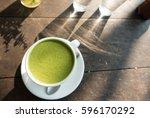 green tea latte | Shutterstock . vector #596170292