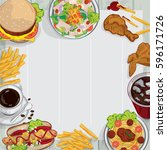 menu food restaurant drawing... | Shutterstock .eps vector #596171726