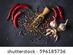 garlic   peper and chili... | Shutterstock . vector #596185736