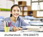 happy asian elementary school... | Shutterstock . vector #596186075