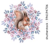 squirrel and flowers.... | Shutterstock . vector #596194706