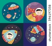 space objects cartoon icons.... | Shutterstock .eps vector #596197358