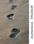Close Up On Footprints On A ...