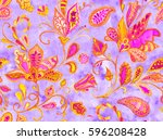 hand drawn watercolor flower... | Shutterstock . vector #596208428