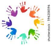 rainbow prints of children... | Shutterstock .eps vector #596208596