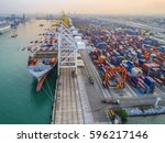 container ship commercial... | Shutterstock . vector #596217146