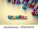 colorful english word cube on... | Shutterstock . vector #596234072