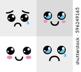 kawaii happy and sad face icon | Shutterstock .eps vector #596249165