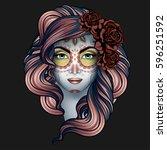 woman with calavera makeup. day ... | Shutterstock . vector #596251592