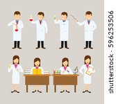 set of scientist character... | Shutterstock .eps vector #596253506