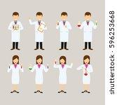 set of scientist character... | Shutterstock .eps vector #596253668