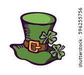 cartoon cap of a leprechaun. st.... | Shutterstock .eps vector #596255756