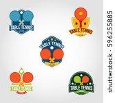 table tennis logo design vector. | Shutterstock .eps vector #596255885