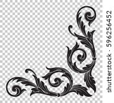 corner ornament in baroque style | Shutterstock .eps vector #596256452
