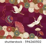 cranes  handball  hand fan and... | Shutterstock .eps vector #596260502