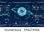 radar screen. vector... | Shutterstock .eps vector #596274446