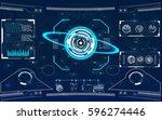 radar screen. vector... | Shutterstock .eps vector #596274446