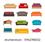 sofa colored vector set.... | Shutterstock .eps vector #596298032