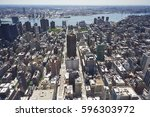 elevated view of mid town... | Shutterstock . vector #596303972