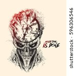 scratch devil skull with clock  ...   Shutterstock .eps vector #596306546