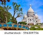 sacre coeur basilique in... | Shutterstock . vector #596309756