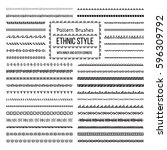 set of vector pattern brushes... | Shutterstock .eps vector #596309792