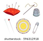 set of sewing needles and pins... | Shutterstock .eps vector #596312918