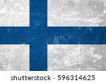 finland   finnish flag on old... | Shutterstock . vector #596314625