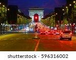 arc de triomphe in paris arch... | Shutterstock . vector #596316002