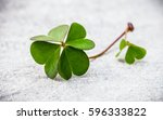 clovers leaves on stone .the... | Shutterstock . vector #596333822