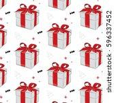 vector gift pattern. red ribbon ... | Shutterstock .eps vector #596337452