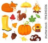 vector cartoon style set of... | Shutterstock .eps vector #596340206
