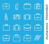 briefcase icons set. set of 16... | Shutterstock .eps vector #596344865