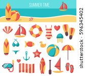summer vacation accessories... | Shutterstock .eps vector #596345402
