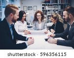 business meeting and...   Shutterstock . vector #596356115
